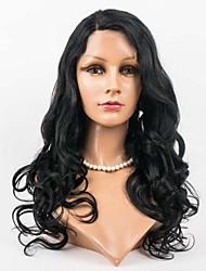 24inch 100% Menschenhaarspitzefront brasilianisches reines Haar wellenförmige Perücke für Frauen