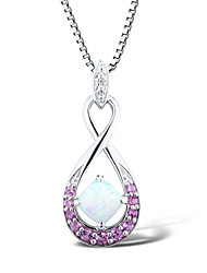 Women's Fashion Sterling Silver set with Created Opal\Pink Sapphire\Diamond  Pendant with Silve Box Chain