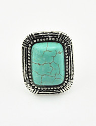 Vintage Look Antique Silver Square Turquoise Stone Adjustable Free Size Ring(1PC)