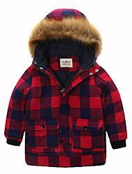 Boy's Stylish Hooded Long Sleeve Pocket Design Plaid Color Block Coat