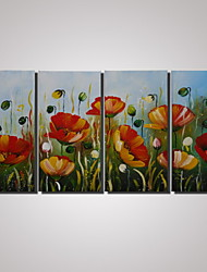 4 Panels Framed Modern Abstract Painting Poppy Flower Paintings on Canvas Wall Decor Landscape Paintings  Ready to Hang