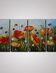 4 painéis emoldurados abstratas pinturas da flor de papoula pintura moderna na lona decoração da parede pinturas de paisagens pronto para