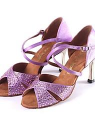Non Customizable Women's Dance Shoes Latin Satin / Leather Stiletto Heel Black / Purple / Ivory