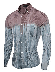Brand Fashion Men cultivating long-sleeved shirt casual shirt printing Cotton / Polyester Casual / Sport Color Block