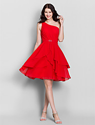 Knee-length Chiffon Bridesmaid Dress A-line One Shoulder