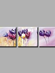 Ручная роспись Абстракция / Цветочные мотивы/ботаническийModern 3 панели Холст Hang-роспись маслом For Украшение дома