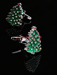 Toonykelly® Fashion Copper Silver Plated Christmas Tree Button Cufflinks(1 Pair)