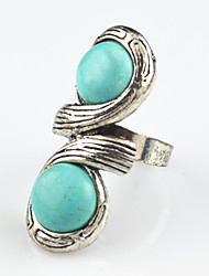 Vintage Antique Silver Turquoise Amethyst Tiger Stone Adjustable Free Size Ring(1PC)