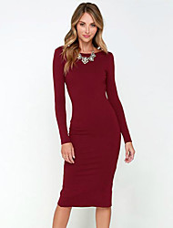 Women's Sexy Backless Solid  Round Neck Long Sleeve Dress