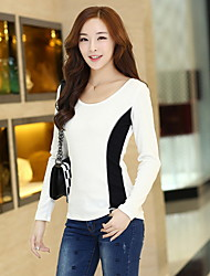 Women's Solid White T-shirt , Round Neck Long Sleeve