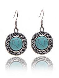 Vintage Wholesale Women Round Drop Turquoise Drop Earring