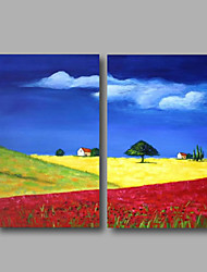 Ready to Hang Stretched Oil Painting Hand-Painted Canvas Wall Art Modern Blue Sky Village Abstract Two Panels
