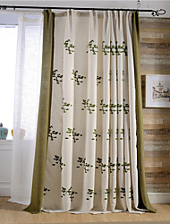 (Two Panels)Modern Flower Embroidered Linen/Cotton Blend Curtain(Sheer Not Included)