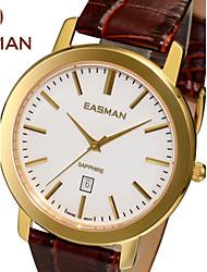 EASMAN® Men's Watch Genuine Leather Switzerland Movement Classic Quartz Sapphire Gold White Ultrathin Watches for Men Cool Watch Unique Watch