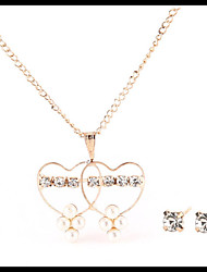 Delicate Gold Chain Pearl Crystal Necklace Heart Pendant  with Stud Earrings Women's Fashion Jewelry set