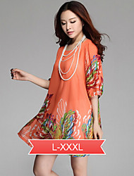 Women's Round Neck Embroidery Dress , Chiffon Above Knee ½ Length Sleeve