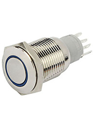 10PCS 16 MM with Lock Button Switch Auto LED Lights Silver Aluminum Power Button Switch 12 V Red, Blue And Green