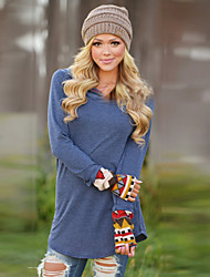 Women's Casual/Daily Simple Winter T-shirt,Solid Hooded Long Sleeve Blue Rayon Opaque