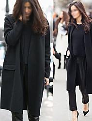 Vbo  Women's Solid Color Black Coats & Jackets , Casual Asymmetrical Long Sleeve