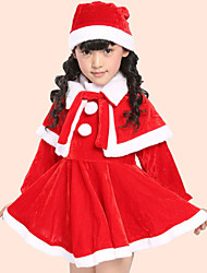 Girl's Fashion Simplicity  Cotton Blend   Fall/Spring  Santa Claus Hat  Shawl Dress 3 Suit