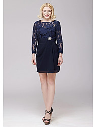 A-line Mother of the Bride Dress - Dark Navy Short/Mini Chiffon / Lace