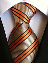 Men Wedding Cocktail Necktie At Work Beige Orange Colors Tie