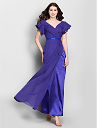 Ankle-length Chiffon Bridesmaid Dress Sheath / Column V-neck with Sequins