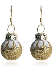 European Style Fashion Christmas Ball-Shaped  Painted Eggshell Gold Plating Earrings