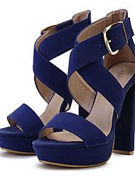 Women's Shoes Fabric Chunky Heel Heels / Platform Sandals Dress / Casual Black / Blue / Pink / Beige