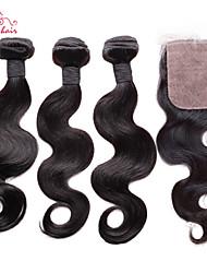"""smilco remy brésilienne de cheveux vierge 12 """"-34"""" vague de corps avec fermeture 3 faisceaux avec 4 * 4 slik fermeture partie libre partie"""