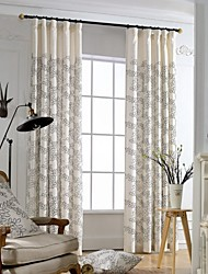 (Two Panels)Modern Leaf Embroidered Cotton Polyester Blend Curtain(Sheer Not Included)