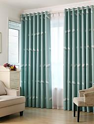 Dos Paneles Campestre / Moderna / Neoclasicismo / Mediterráneo / Europeo Animal Beige / Azul Dormitorio PoliésterBlackout cortinas