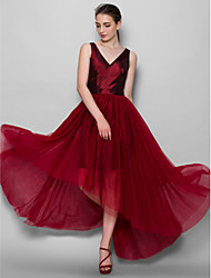 Asymmetrical Taffeta / Tulle Bridesmaid Dress A-line V-neck