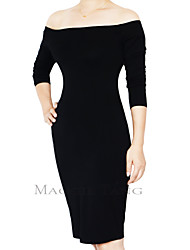 Maggie Tang Women's Basic Long Sleeve One Shoulder Business Pencil Dress PV823