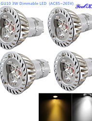 YouOKLight® 4PCS Dimmable GU10 3W 200LM 3000/6000K  White/ Warm White 3-LED Spot Light Bulb - Silver + White (AC85~265V)