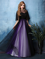 A-Line Jewel Neck Floor Length Satin Tulle Formal Evening Dress with Sash / Ribbon