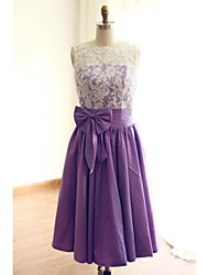 Tea-length Lace / Taffeta Bridesmaid Dress A-line Jewel with Bow(s) / Lace