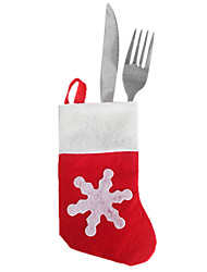Santa Mini Socks in Knife Fork Cloth Cover for Christmas Dinner Table Party Decoration(12 Piece)