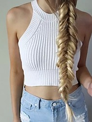 Sexy Round Neck Sleeveless Solid Color Knitted Crop Top For Women