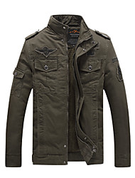 Men's Casual/Daily Vintage JacketsSolid Stand Long Sleeve Winter Black / Brown / Green Cotton Thick