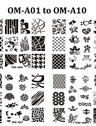 10pcs New Square Nail Art Stamping Plates Fashion Design Nail Stamp Stamper Stencil DIY Polish Mould Manicure Tools