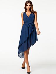 Women's Solid Navy Blue Dress , Sexy / Casual Deep V Sleeveless
