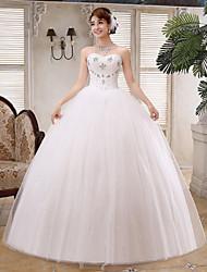Ball Gown Wedding Dress - White Floor-length Sweetheart Satin / Tulle