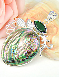 Fashion Forward Shiny Natural Abalone Green Quartz Gem 925 Silver Pendants for Necklaces For Wedding Daily  1pc
