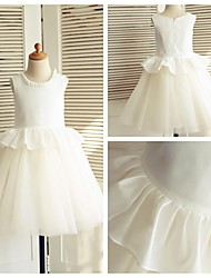 A-line Knee-length Flower Girl Dress - Cotton / Tulle Sleeveless