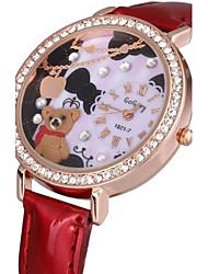 Women's Sparkle Case 3D Bear Dial PU Band Quartz Watch Cool Watches Unique Watches