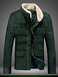 Men's Stand Coats & Jackets , Cotton Blend Long Sleeve Casual Zipper Winter YYS