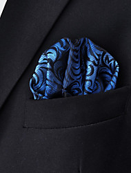 Men's Floral Blue Hanky 100% Silk Business Fashion Pocket Square