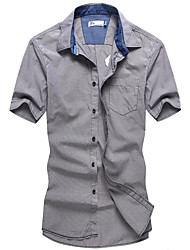 Men's Casual/Work Short Sleeve Gingham Shirts