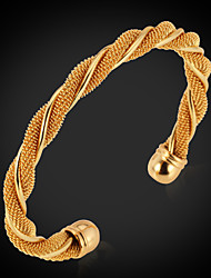 Vogue Men's Women's 18K Chunky Gold Platinum Plated Cuff Bracelet Bangle Jewelry High Quality